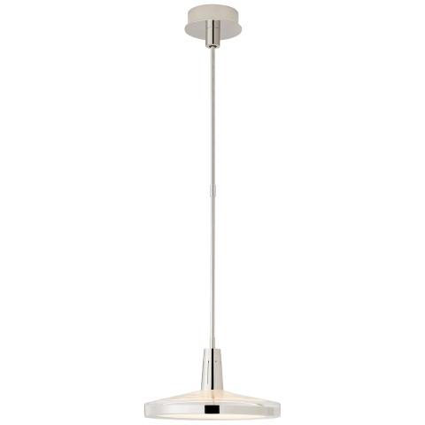 Nikos Medium Pendant in Polished Nickel with Clear Glass