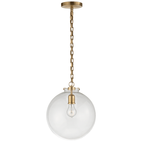 Katie Globe Pendant in Hand-Rubbed Antique Brass with Clear Glass