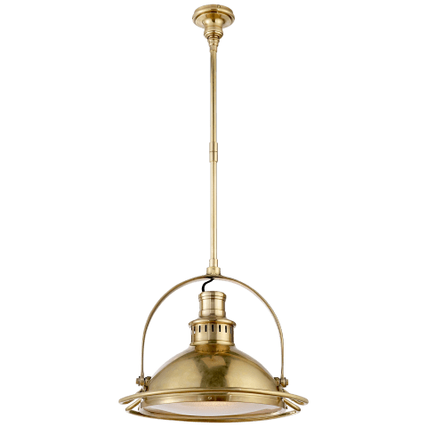 Patrick Medium Pendant in Hand-Rubbed Antique Brass with Frosted Glass