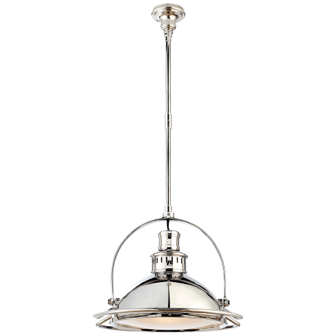 Patrick Medium Pendant in Polished Nickel with Frosted Glass
