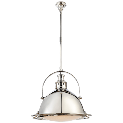 Patrick Large Pendant in Polished Nickel with Frosted Glass