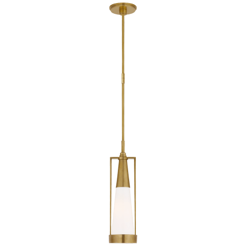 Calix Small Pendant in Hand-Rubbed Antique Brass with White Glass