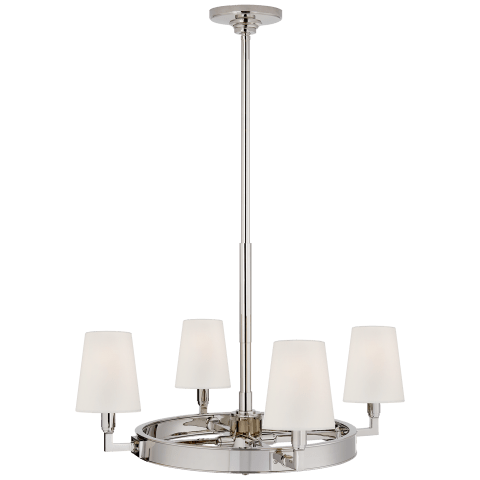 Watson Small Ring Chandelier in Polished Nickel with Linen Shades
