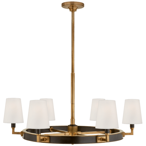 Watson Medium Ring Chandelier in Bronze and Hand-Rubbed Antique Brass with Linen Shades