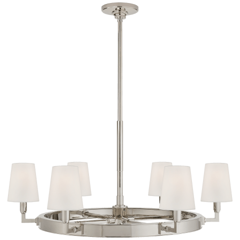 Watson Medium Ring Chandelier in Polished Nickel with Linen Shades