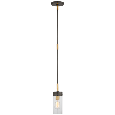 Marais Petite Pendant in Bronze and Hand-Rubbed Antique Brass with Clear Glass