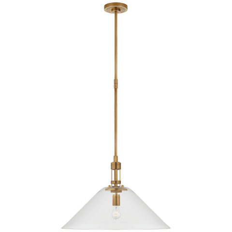 Gable Large Conical Pendant in Hand-Rubbed Antique Brass with Clear Glass