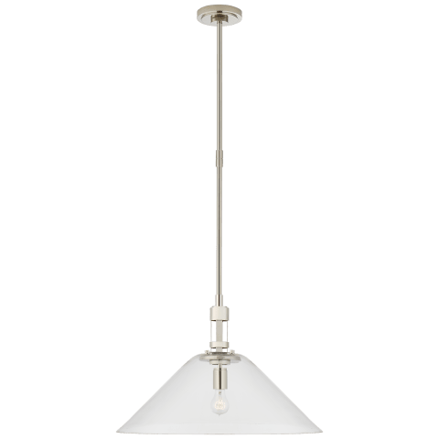 Gable Large Conical Pendant in Polished Nickel with Clear Glass