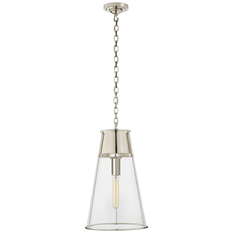 Robinson Large Pendant in Polished Nickel with Clear Glass