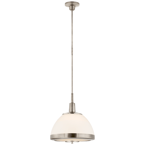Connor Large Pendant in Antique Nickel with White Glass