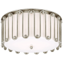 Molene Large Flush Mount in Burnished Silver Leaf with White Glass