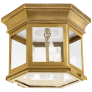Club Small Hexagonal Flush Mount in Antique-Burnished Brass with Clear Glass