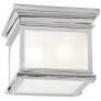 Club Small Square Flush Mount in Polished Nickel with Frosted Glass