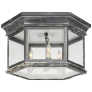 Club Large Hexagonal Flush Mount in Weathered Zinc with Clear Glass