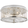 Liaison Medium Flush Mount in Polished Nickel with Crackle Glass