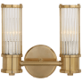 Allen Double Sconce in Natural Brass and Glass Rods