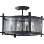 Ethan 4 - Light Indoor Semi-Flush Mount Antique Forged Iron / Brushed Steel