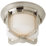 Milton Short Flush Mount in Polished Nickel with White Glass