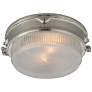 Garey Flush Mount in Polished Nickel with Industrial Prismatic Glass