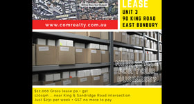 Showrooms / Bulky Goods commercial property for lease at Unit 3/90 King Road East Bunbury WA 6230