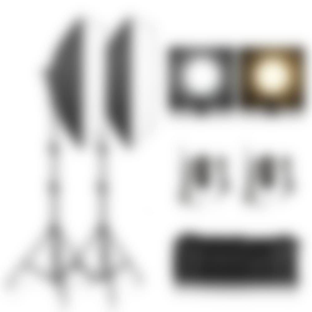 2 Color free adjustable led softbox lighting kit
