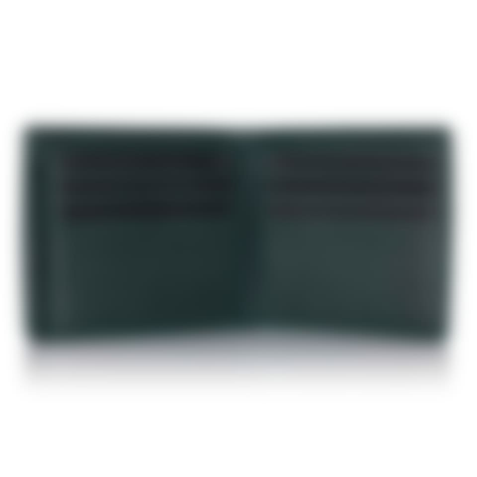 Green Label luxury leather trifold wallet open 2