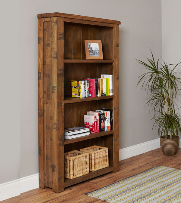 Heyford Rough Sawn Oak Large Open Bookcase