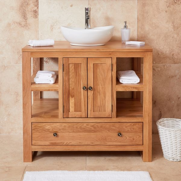 Mobel Oak Two Door Round Sink Unit