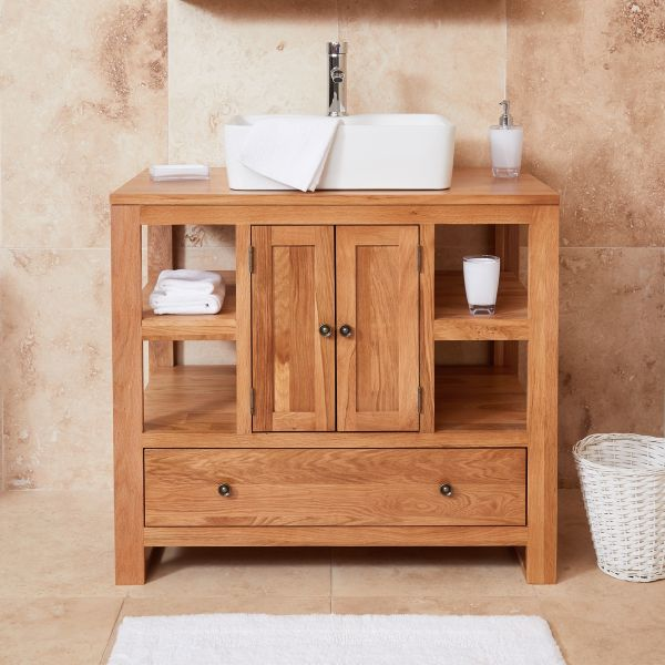 Mobel Oak Two Door Single Square Sink Unit