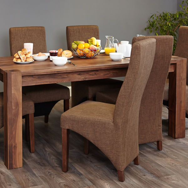 Shiro Walnut 6-8 seat table and 6 hazelnut chairs