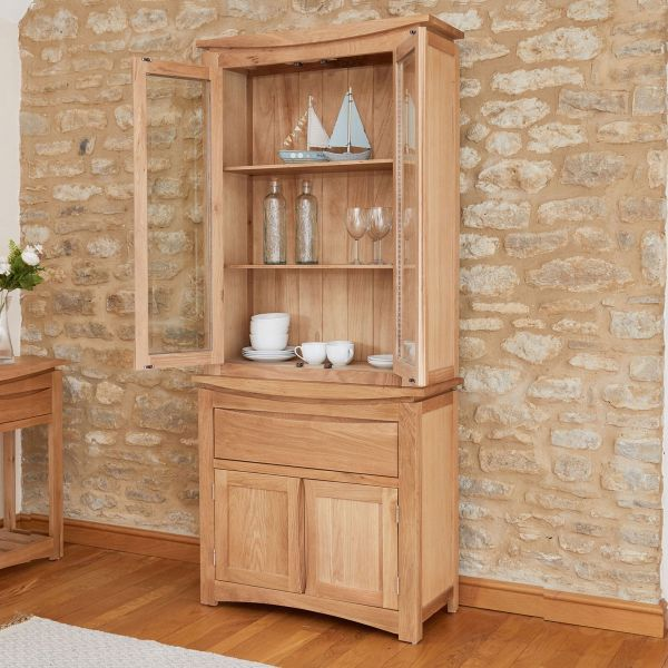 Roscoe Contemporary Oak Glazed Display Cabinet and Sideboard