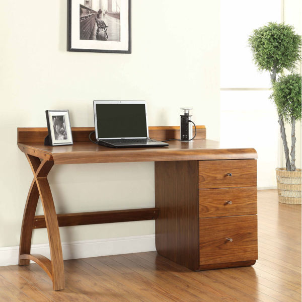 Curve Walnut Pedestal Desk