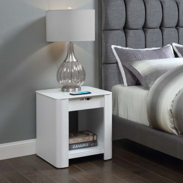 San Francisco White Bedside / Lamp Table with QI Wireless Charger, USB Ports and 2.1 Bluetooth Speakers