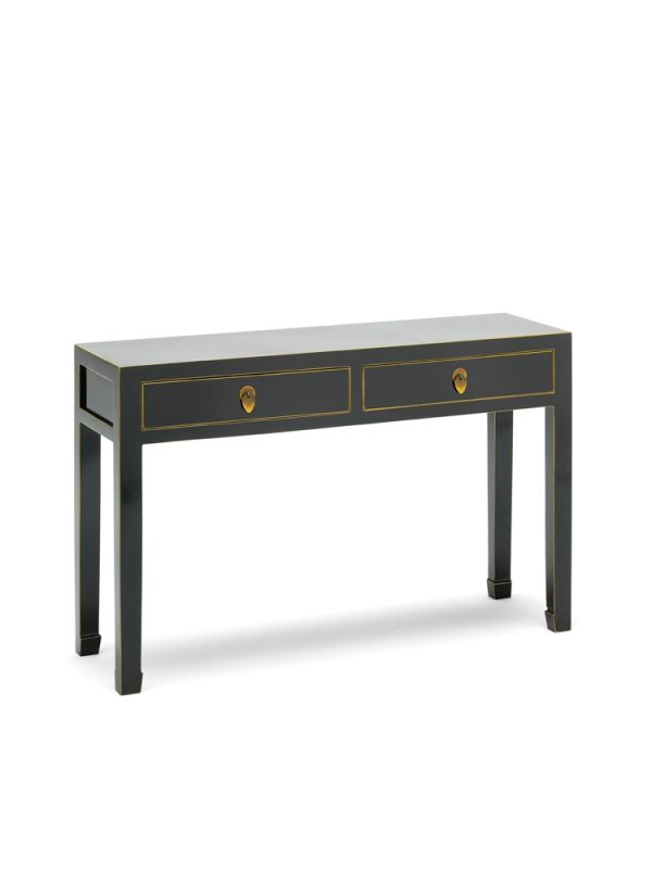 The Nine Schools Qing Black and Gilt Large Console Table
