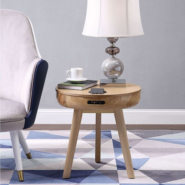 San Francisco Round Lamp Table With QI Wireless Charger, USB Ports and 2.1 Bluetooth Speakers