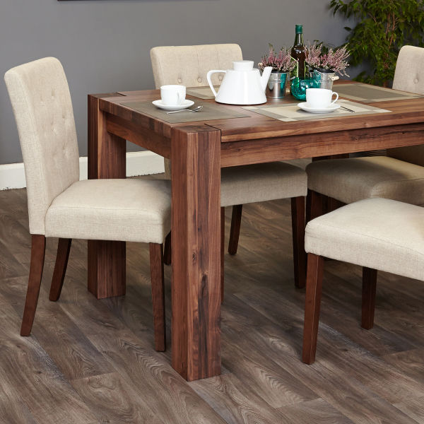 Shiro Walnut 4 seat dining table and 4 cream linen chairs