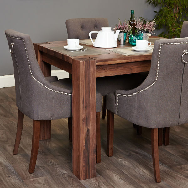 Shiro Walnut 4 seat table and 4 grey chairs with arms