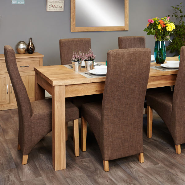 Mobel Oak extending table and 6 hazelnut chairs