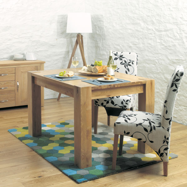 Aston Oak 4 seat dining table and 4 upholstered chairs