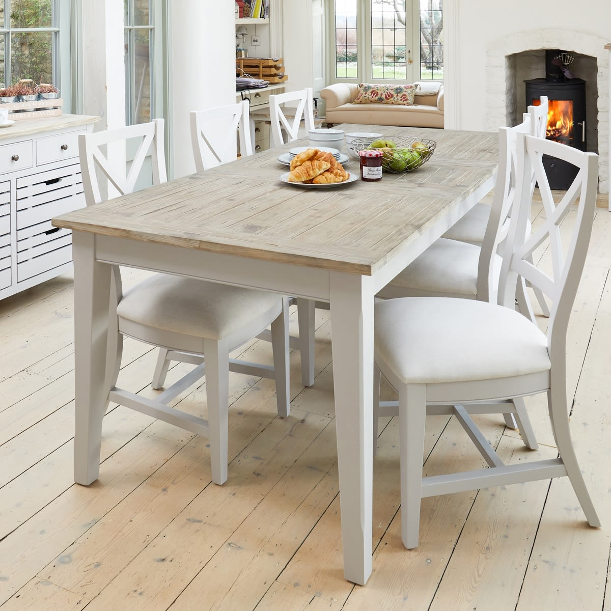 Dining Table 6 Chairs: Signature Grey Extending Dining Table With Six Chairs Was