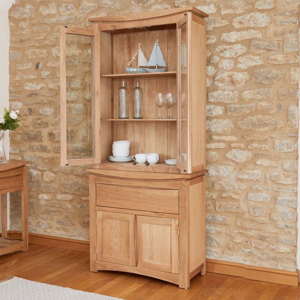 Roscoe Contemporary Oak Glazed Display Cabinet And