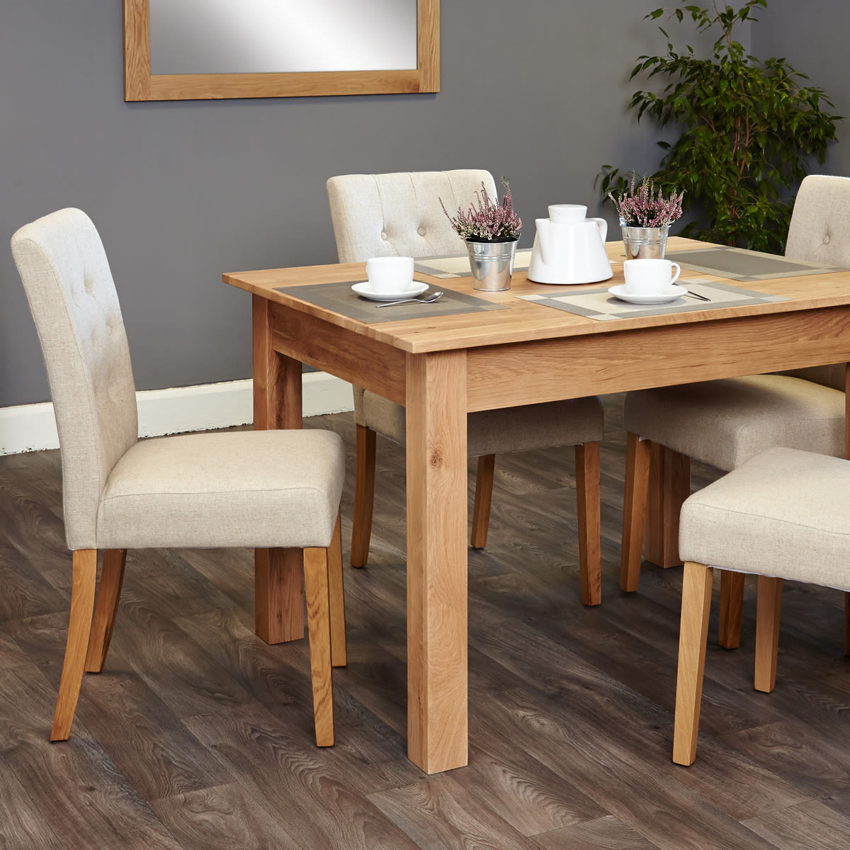 Mobel Solid Oak Dining Room Furniture Small Modern Dining: Mobel Oak Four Seat Table And Cream Chairs Was £759.00 Now