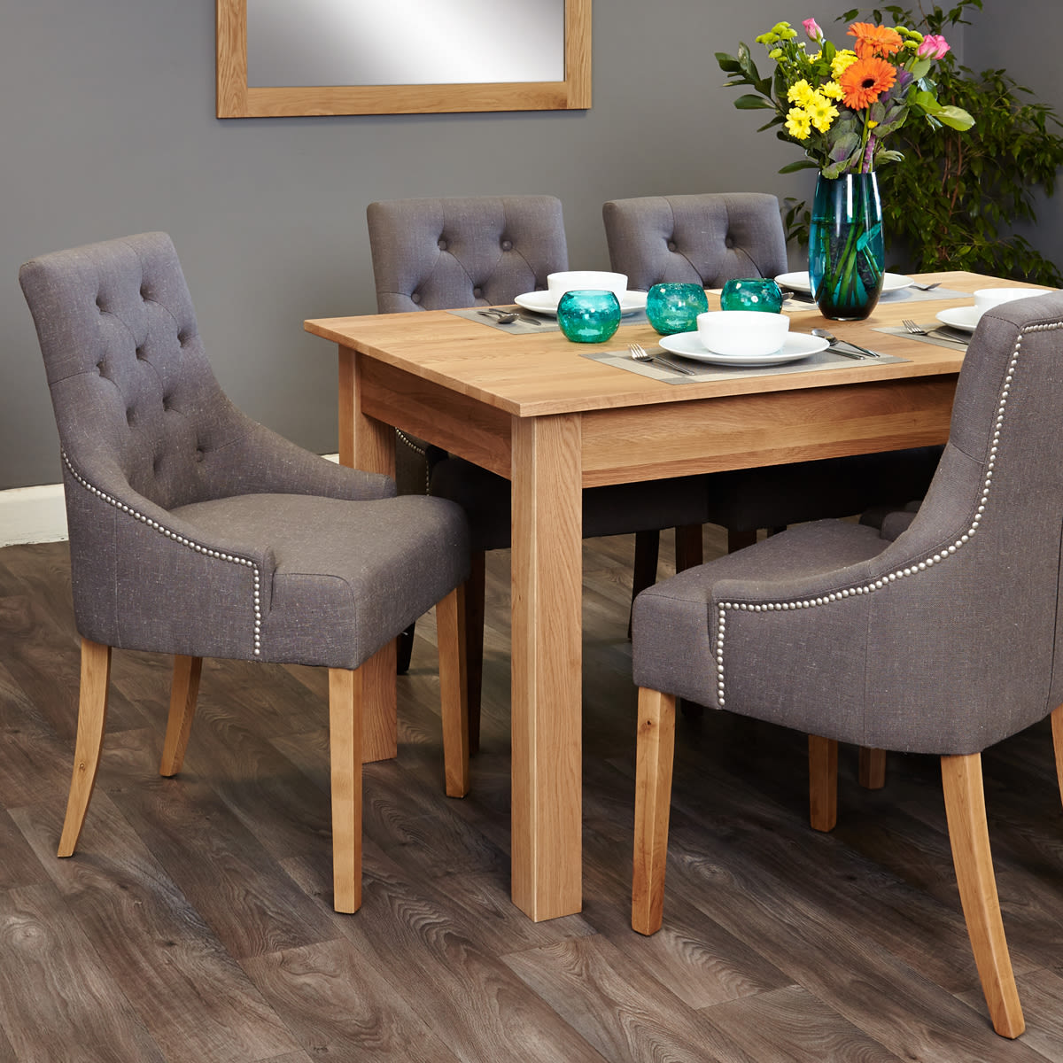 mobel oak 4 6 seat table and 6 grey chairs with arms was 1 199 00 now 999 00 wooden furniture store