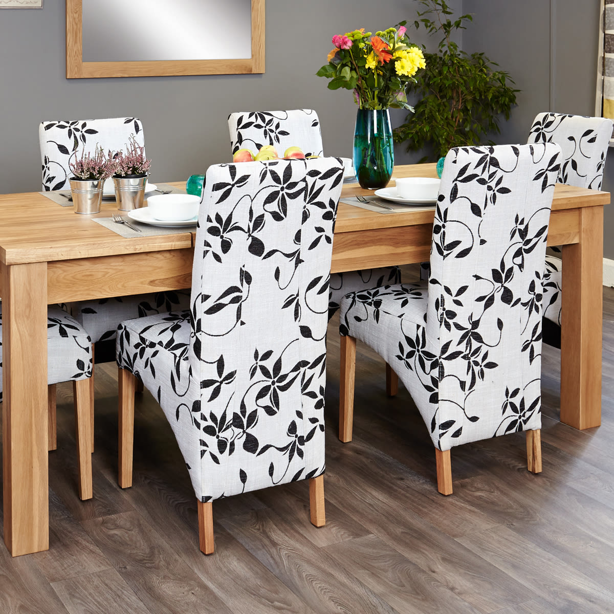 mobel oak extending table and 6 cream and brown flock chairs was 1 349 00 now 1 099 00 wooden furniture store