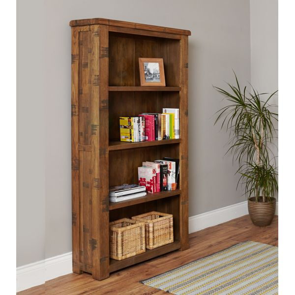 Rough Sawn Oak Large Open Bookcase