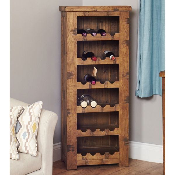 Rough Sawn Oak Tallboy Wine Rack