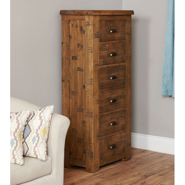 Rough Sawn Oak Tallboy (6 Drawer)