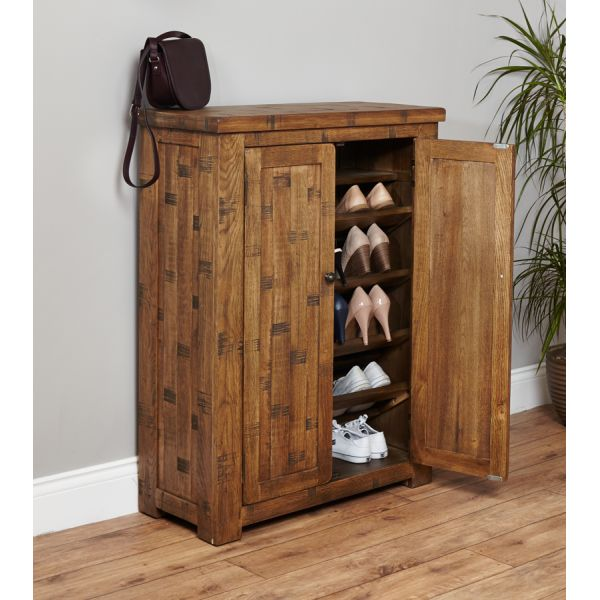 Rough Sawn Oak Shoe Cupboard
