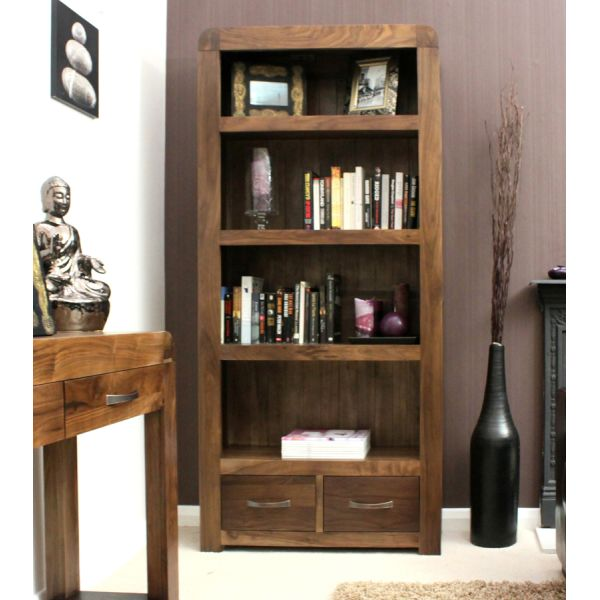 Shiro Walnut Large Two Drawer Bookcase
