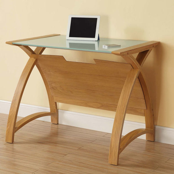 Curve Home Office Oak Table (90cm)